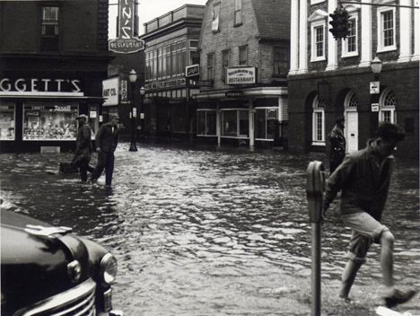Thames Street after Hurricane Carol, 1954.