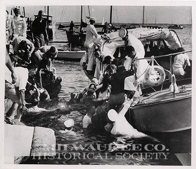 Pier broke down, people in water