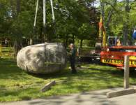 "Installation of Goldsworthy's ""Rising Stone,"" 2013"