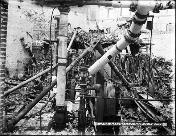 Washington and Mason Powerhouse Interior View of Engine Room After 1906 Fire | U00777