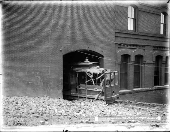 Crushed Cable Car at Washington and Mason Car House After the 1906 Earthquake | U00776